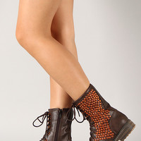 Qupid Ryanne-01xx Studded Military Lace Up Bootie