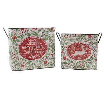 Christmas Santa With Holly Berry Buckets St/2 Vintage-Style - 101206