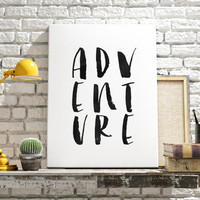 "PRINTABLE ART ""Adventure"" Print Black and White Typography Typographic Print Dorm Decor Dorm Decor Apartment Decor Typograpy Print"