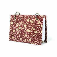 3 x 5 index card binder, red damask, daily memory journal, recipe card binder, index card holder with a set of index card dividers