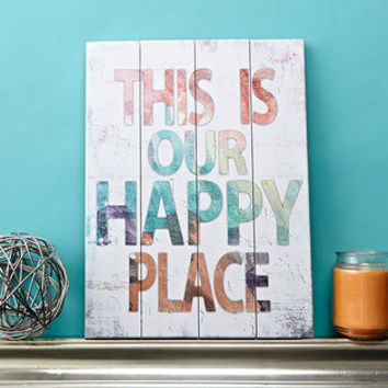"""This Is Our Happy Place - 30"""" x 40"""" Slatted Wood Art Sign Colorful Watercolor on distressed white Typography Home Wall Decor by Misty Diller"""