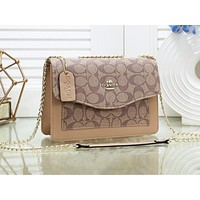 COACH fashion lady Mosaic color printing casual shoulder shopping bag #1