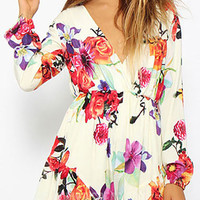 Floral V-Neck Long Sleeve Pleated Romper