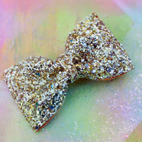 Gold and Silver Mix Glitter Hair Bow Sparkly Cute Kawaii Glitter Bow