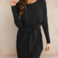 Winter new thick solid color irregular sexy long-sleeved straps hip dress