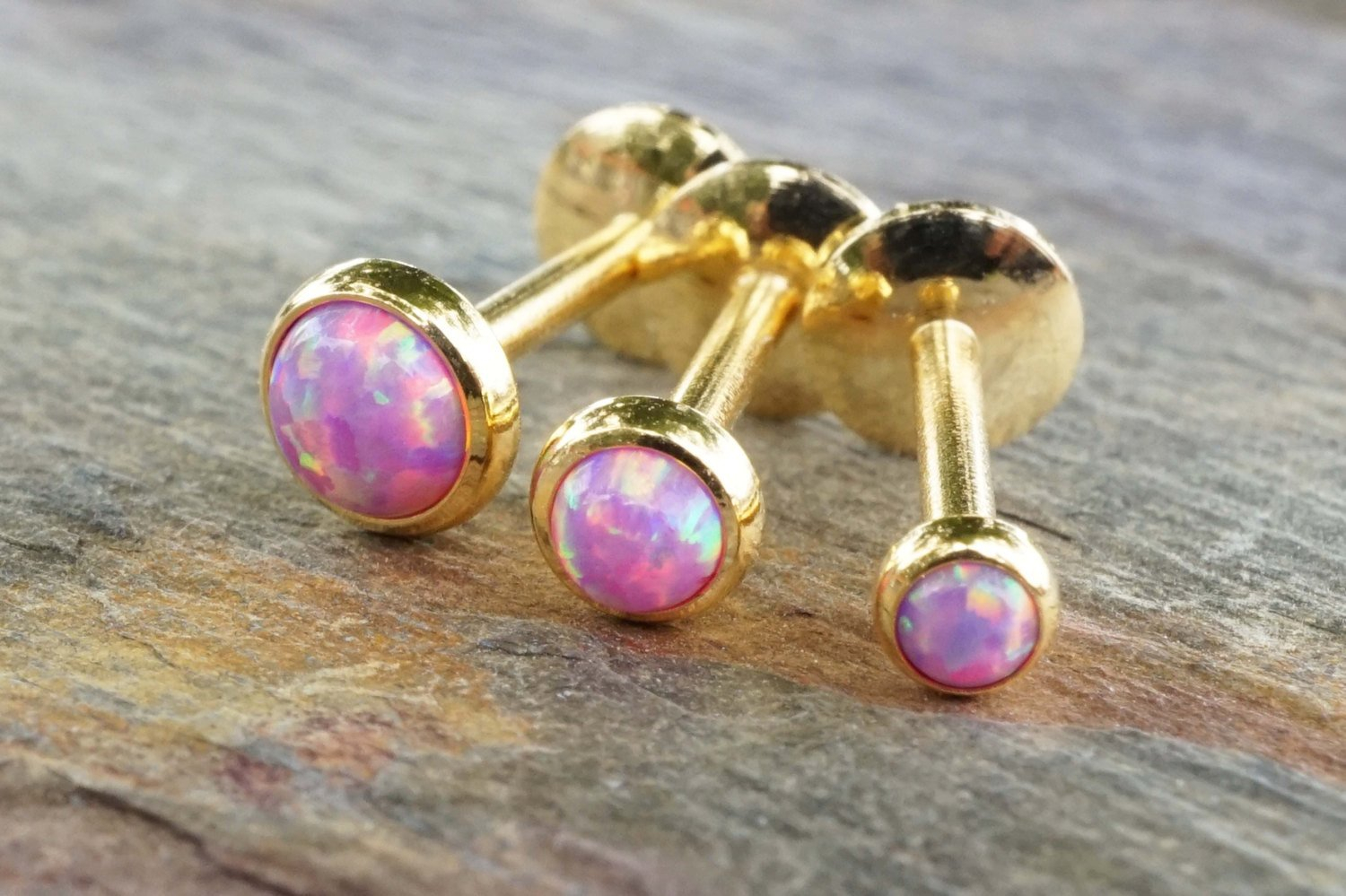 Image of Gold Pale Light Pink Fire Opal 16 Gauge Cartilage Earring Tragus Monroe Helix Piercing You Choose Stone Size