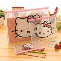 3 Pcs Kawaii Hello Kitty Document File Bag Holder Storage Case Cosmetic Makeup Bag Student Stationery School Supplies