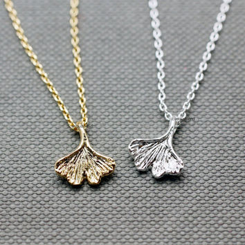 Tiny Ginkgo leaf necklace / Ginkgo leaf necklace / women necklace- Available color as listed (Gold, Silver)