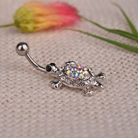 New Arrival Vintage Multicolor Crystal Cute Turtle Dangle Body Piercing Navel Belly Button Ring Bar  (Size: One Size) = 1945963076