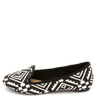 Aztec Print Smoking Slipper Loafers by Charlotte Russe - Black/White