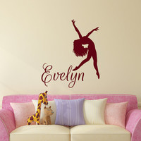 Dance Wall Decal Name Vinyl Decals Ballet Dancing Ballerina Acrobatics Gymnastics Wall Decal Custom Personalized Girls Name Decor T164 (R)