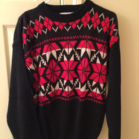 vintage nordic style sweater // fair isle // red and black sweater // DEAD STOCK