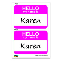 Karen Hello My Name Is - Sheet of 2 Stickers