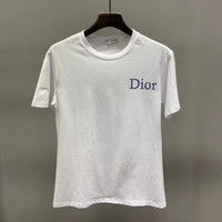 """"""" Dior"""" Woman Casual Fashion Letter Printing Cotton Loose Short Sleeve Tops"""