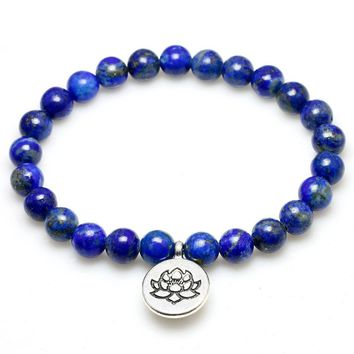 Real Natural lapis lazuli Bead With lotus Buddha Tree Life Penden Stone Bracelet For Women and Men Yoga Meditation  Jewelry