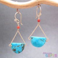 """Red coral with turquoise disc, 1-1/4"""" Earring Gold Or Silver"""