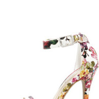 Anne Michelle Enzo 01Y White Floral Print Single Strap Heels