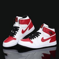 Nike Air Jordan Retro 1 High Tops Contrast Sports shoes White Red Red hook G-CSXY