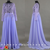 Open Back Sexy Evening Gown, Sexy Lilac Prom Dress, Long Sleeve Beaded Prom Evening Dress, Lavender Bridesmaid Dress, Sexy Homecoming Dress
