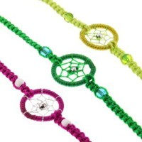 "Dream Catcher Hand Woven Bracelets - Purple, Green, Leaf Green Color - Ideal Friendship Bracelets - 6"" Length with 3"" Extension - Sold in a set of 3: Jewelry: Amazon.com"