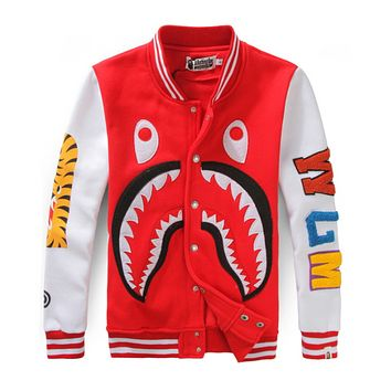Bape Aape Autumn And Winter Fashion New Shark Tiger Women Men Long Sleeve Top Coat Red