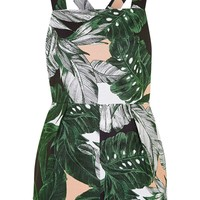 Ring Detailed Leaf Print Playsuit