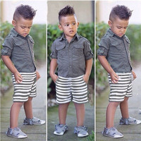 Boy's Fashionable 2 PC Shorts+Shirt