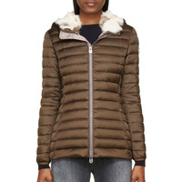 Colmar Brown Quilted Down And Fur Hooded Coat