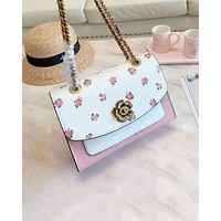 Coach fashion new products printed patchwork color diagonal cross bag hot selling women shoulder bag