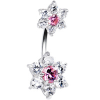 Sterling Silver 925 Clear Pink Cubic Zirconia Dual Flower Belly Ring | Body Candy Body Jewelry