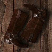 Vintage Suede Harness Boots