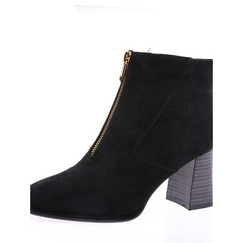 Women's Patent Leather Fall & Winter Casual Boots Chunky Heel Pointed Toe Booties / Ankle Boots Black