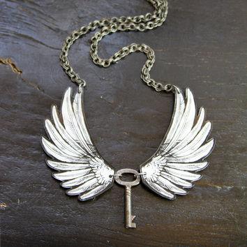 Angel Wings Acrylic Laser Cut Statement Necklace with Key - Goth, Fantasy, Steampunk
