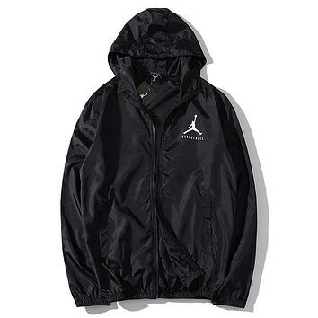 JORDAN Summer Men Women Casual Print Hoodie Zipper Jacket Coat Sun-Protective Couple Windbreaker Black