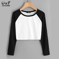 Dotfashion Two Tone Raglan Sleeve Crop Tee Shirt 2017 Black And White Round Neck Top Autumn Long Sleeve Plain T shirt