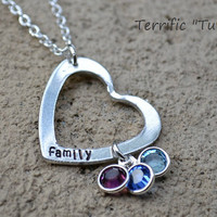 Heart Of My Family- Personalized Hand Stamped Heart Necklace with Swarovski Birth Stones