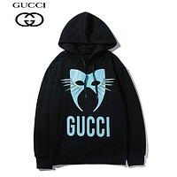 GUCCI hot selling monogram print hoodies fashion casual hoodies Black