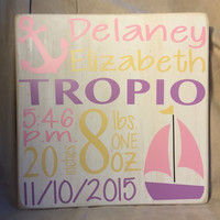 Personalized, Baby Stat Wooden Sign, Girl or Boy, Baby Gift, Shower Gift, Custom Sign, Handmade, In the USA, Simply Fontastic