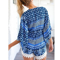 Blue Vintage Print Bell Sleeve V-Neck with Crochet Lace Accent Romper