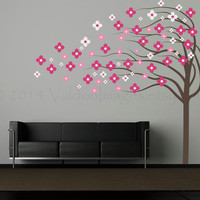 Pink and white flower blowing tree wall decal, flower wall decal, living room decal, tree wall art, flower stickers, windy tree wall decal
