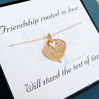 Gold leaf necklace for best friends and sisters by BriguysGirls