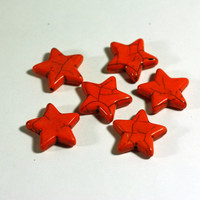 6 star beads in Orange Howlite Star Beads: Dyed Howlite Chunky Beads, 1 inch beads, 25mm - Large Gemstone Star Beads