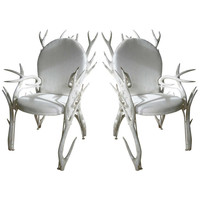 Very Sculptural Handsome Pair of Faux Antler Arm Chairs of Carved Wood