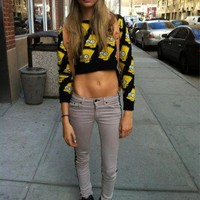 Bart Simpson Cropped Sweater - Skinny Bitch Apparel