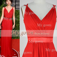 Straps V-neck Red Chiffon Prom Gown,Dresses ,Bridesmaid Dresses,Wedding Dress,Cocktail Dress