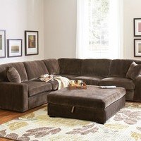 2 pc Luka Collection coffee bean textured padded velvet upholstered sectional sofa with coil spring seating