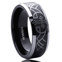 8MM Titanium Comfort Fit Wedding Band Ring Thorn With Cross Beveled Edges Black Ring