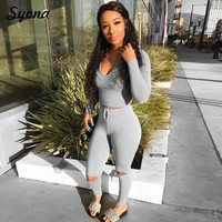 Women TWO PIECE SET Hoodies Hole Pants Knee Cut Ripped Tracksuit Fitness HIGH Waist Sweat Suit 2PCS Workout Tracking Autumn Wint