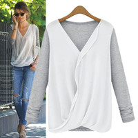 Block Long-Sleeve Wrapped Chiffon Shirt