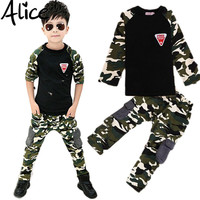 2016 New Camouflage Kids Clothing Set for Boys&Girls Spring&Autumn Cotton Camo Boys Sports Set Active Girls Clothing Sets